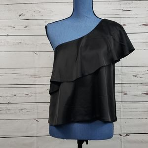 NWT LULU'S Black One Shoulder Blouse